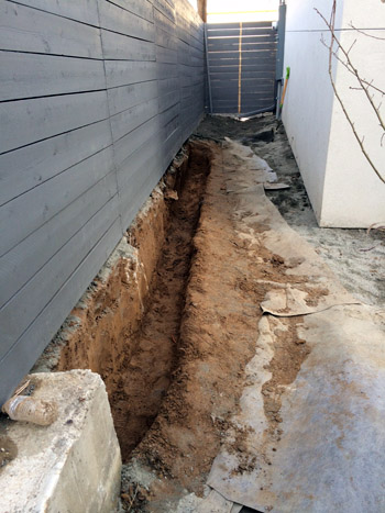 retaining wall dig out