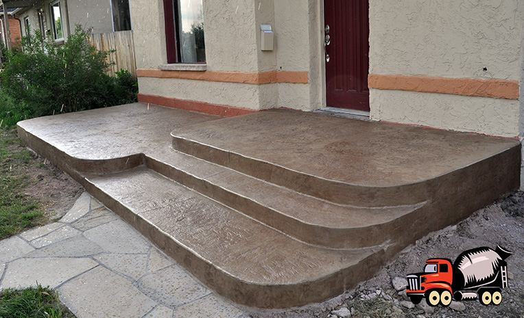 heavy texture stamped concrete patio