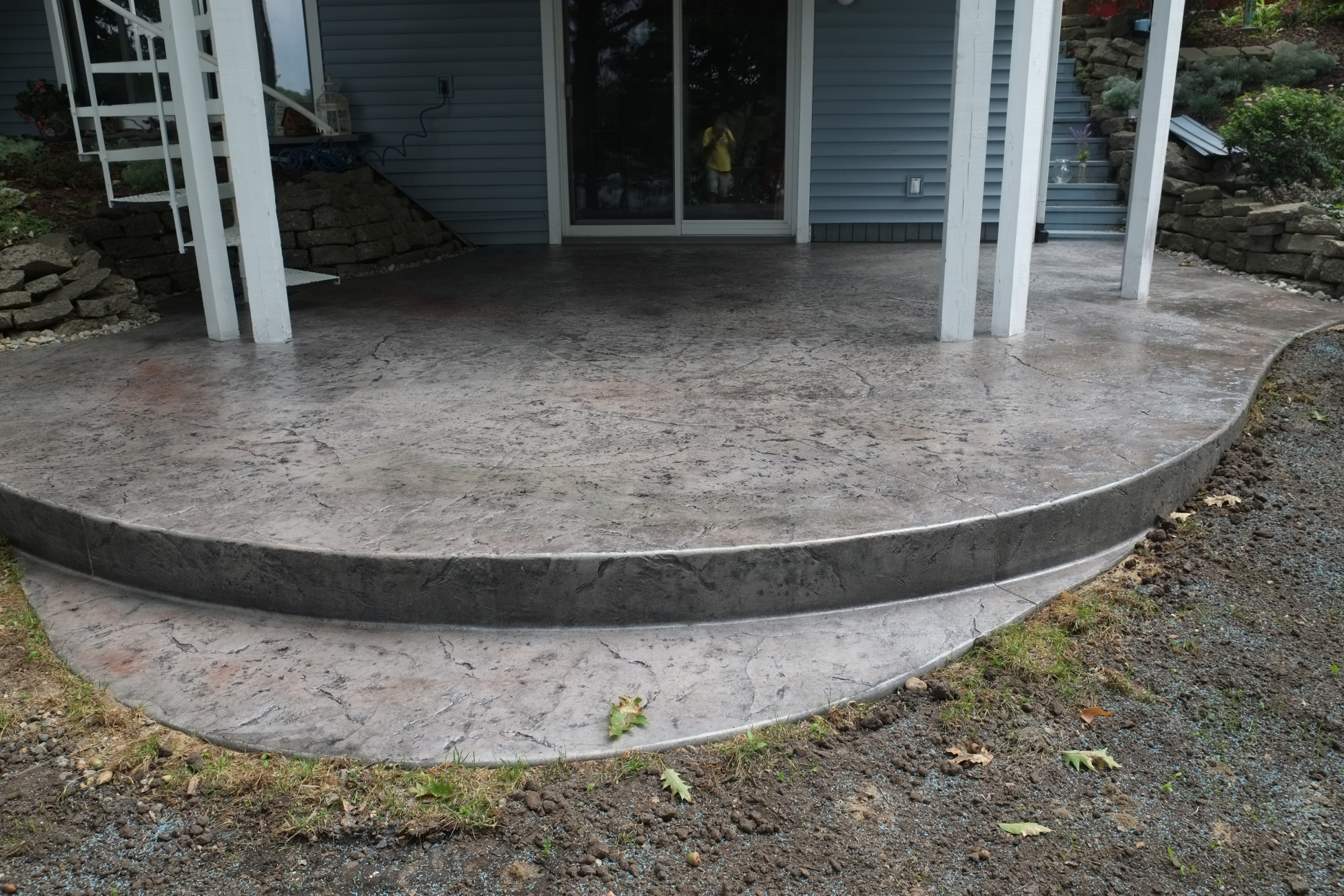 Heavy textured stamped concrete patio