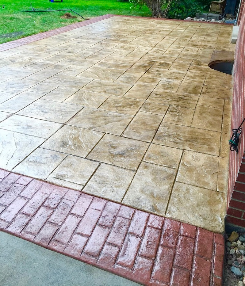 Stamped Patio with Brick Border